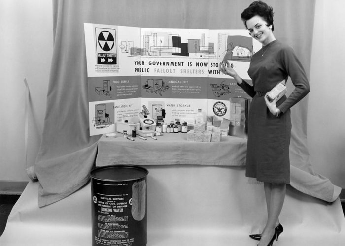 Human Greeting Card featuring the photograph Fallout Shelter Supplies, Usa, Cold War by Us National Archives And Records Administration