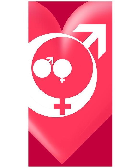 Symbol Greeting Card featuring the photograph Family Gender And Love Symbols by Detlev Van Ravenswaay