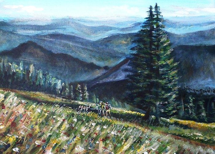 Man Greeting Card featuring the painting Family Hike by Shana Rowe Jackson