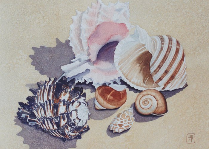 Seashells Greeting Card featuring the painting Family Portrait by Eve Riser Roberts