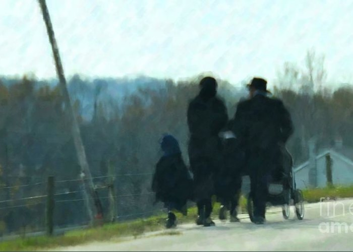 Amish Greeting Card featuring the photograph Family Time by Debbi Granruth