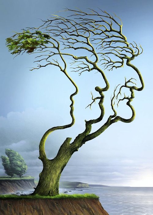 Plant Greeting Card featuring the photograph Family Tree, Conceptual Artwork by Smetek