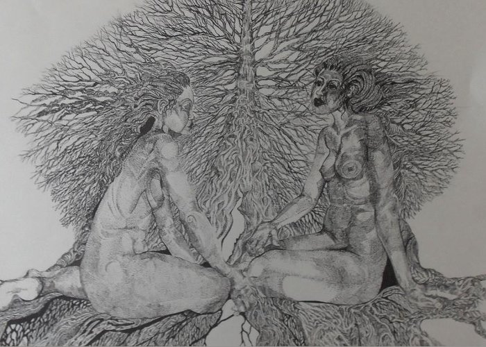Females Greeting Card featuring the drawing Family Tree by Michol Childress