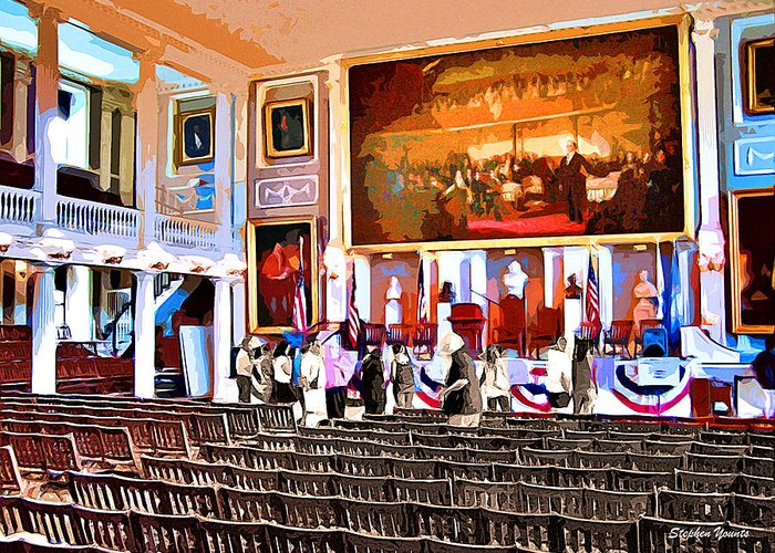 Faneuil Hall Greeting Card featuring the digital art Faneuil Hall by Stephen Younts