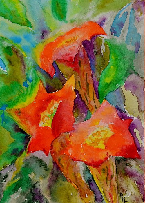 Watercolor Greeting Card featuring the painting Fanfare by Beverley Harper Tinsley