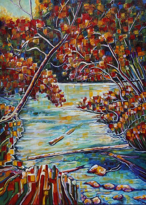 Fall Greeting Card featuring the painting Fantasy Fall by Joselyn Holcombe
