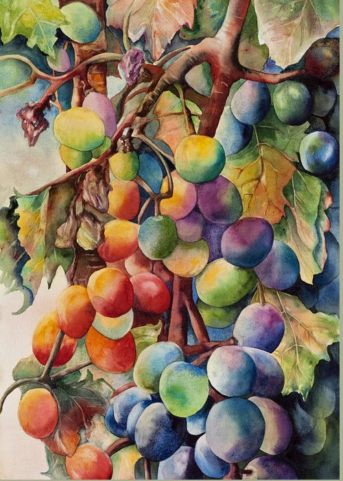 Orange Greeting Card featuring the painting Fantasy Grapes by Diane Fujimoto