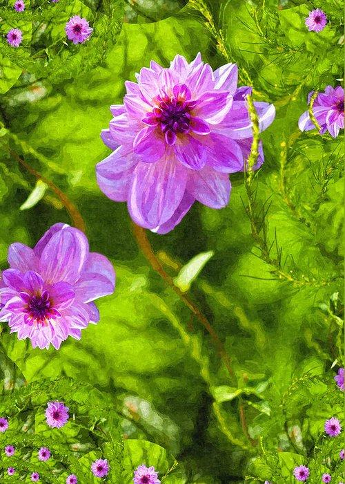 Flower Greeting Card featuring the digital art Fantasy Pink Dahlia by Design Windmill