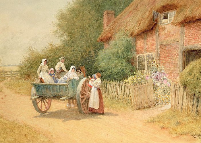 Horse And Cart; Cottage Garden; Rural; Countryside; Vernacular Architecture; Summer; Mother And Child; Baby; Thatched; Waving; Seeing Off Greeting Card featuring the painting Farewell by Arthur Claude Strachan