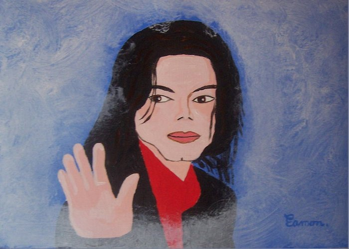 Michael Jackson Greeting Card featuring the painting Farewell My Fans by Eamon Reilly