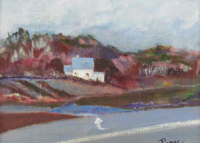 Farmhouse In Country Greeting Card featuring the painting Farm House Cut Off Of Route 5 by Betty Pieper
