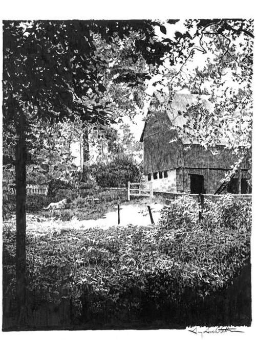 Farm Greeting Card featuring the drawing Farm In Illinois by Gary Gackstatter