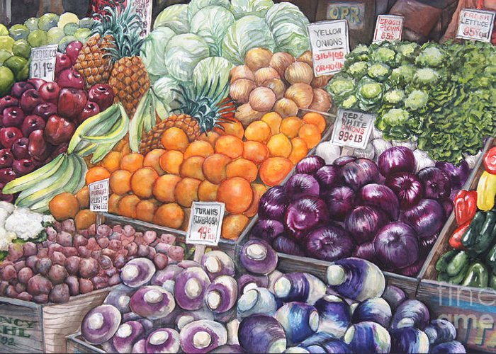 Watercolor Greeting Card featuring the painting Farmers Market by Nancy Pahl