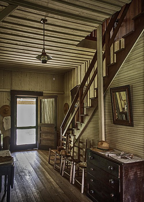 Flight Of Stairs Greeting Card featuring the photograph Farmhouse Entry Hall And Stairs by Lynn Palmer