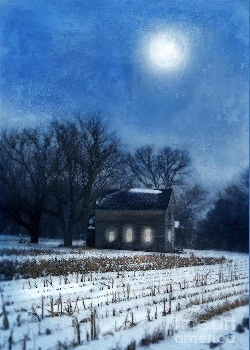 Rural Greeting Card featuring the photograph Farmhouse Under Full Moon In Winter by Jill Battaglia