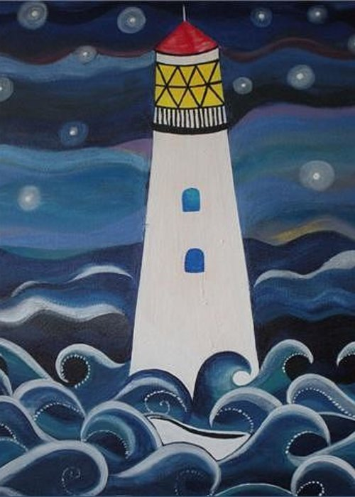 Lighthouse Greeting Card featuring the painting Faro Centinelas by Monica Moser