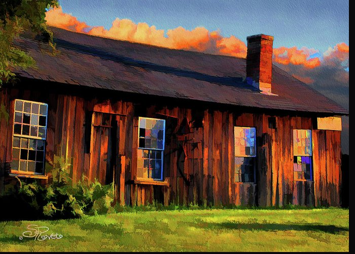 Shed Greeting Card featuring the painting Farrier's Shed by Suni Roveto