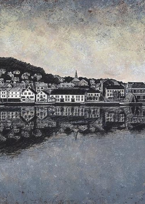 Seascape Greeting Card featuring the drawing Farsund Waterfront by Janet King