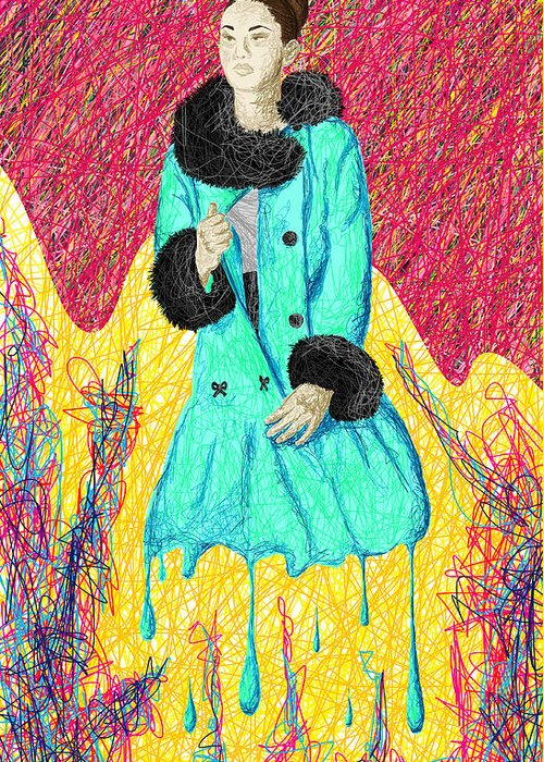 Fashion Abstraction De Eliana Smith Greeting Card featuring the painting Fashion Abstraction De Eliana Smith by Kenal Louis