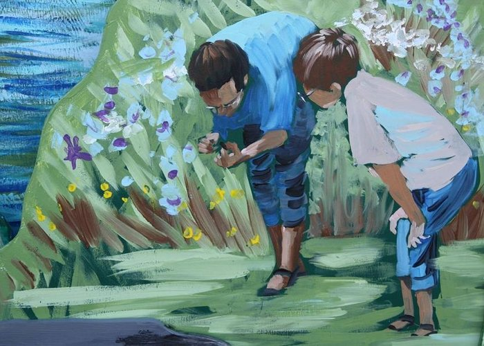 Mural Greeting Card featuring the painting Father And Son Detail Of Spring 1 by Jan Swaren