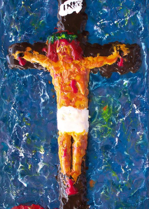 Religious Greeting Card featuring the painting Father Forgive Them by Carl Deaville
