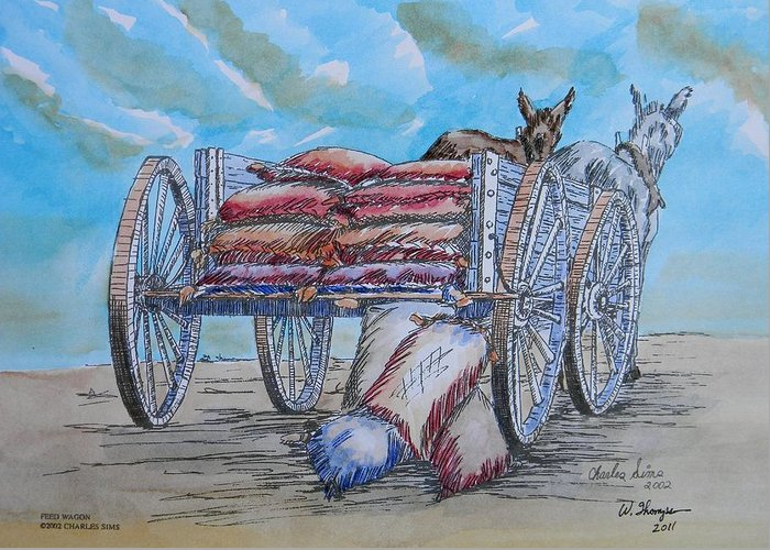 Feed Wagon Watercolor Greeting Card featuring the painting Feed Wagon Watercolor by Charles Sims and Warren Thompson