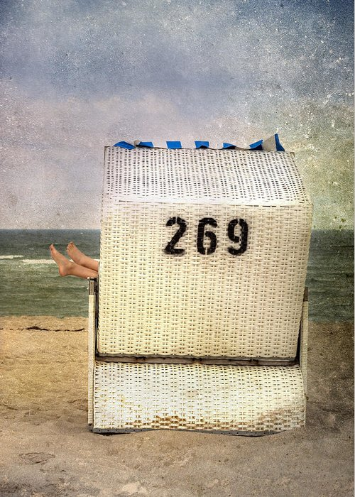 Female Greeting Card featuring the photograph Feet And Beach Chair by Joana Kruse