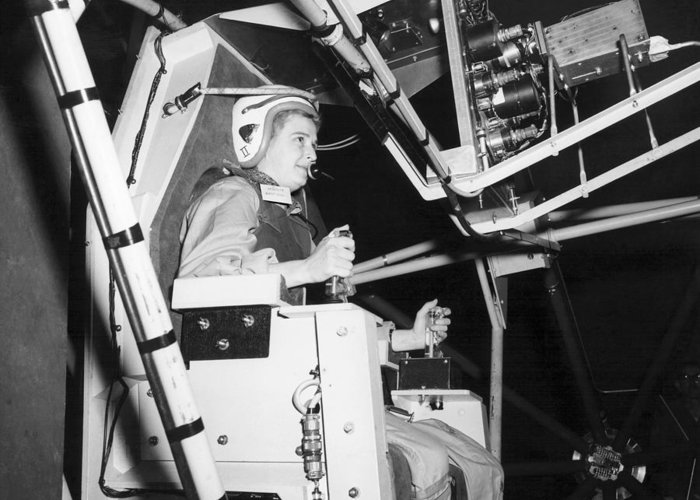 Manned Spaceflight Greeting Card featuring the photograph Female Astronaut Training by Nasa
