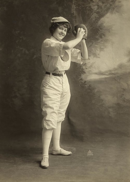 1913 Greeting Card featuring the photograph Female Baseball Player by Granger