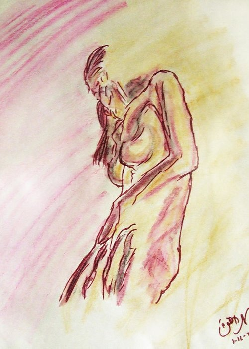 Sketch Greeting Card featuring the painting Female Nude Figure Sketch In Watercolor Purple Magenta And Yellow With A Warm Sunlit Background by M Zimmerman