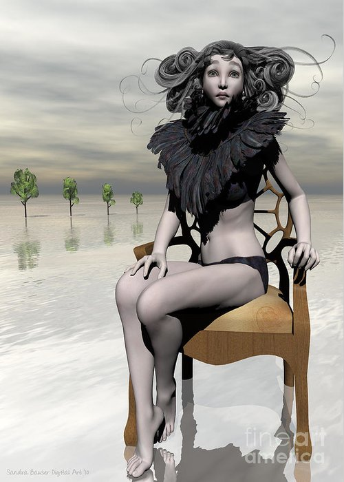 Bryce Greeting Card featuring the digital art Femme Avec Chaise by Sandra Bauser Digital Art