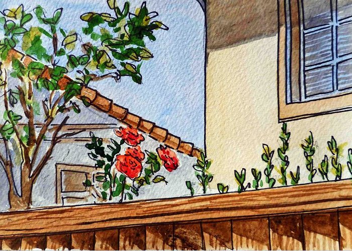 Rose Greeting Card featuring the painting Fence And Roses Sketchbook Project Down My Street by Irina Sztukowski