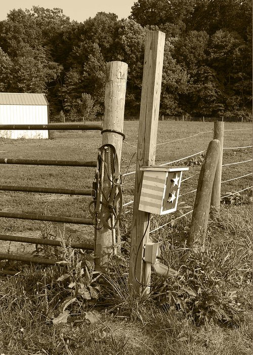 Fence Greeting Card featuring the photograph Fence Post by Jennifer Ancker