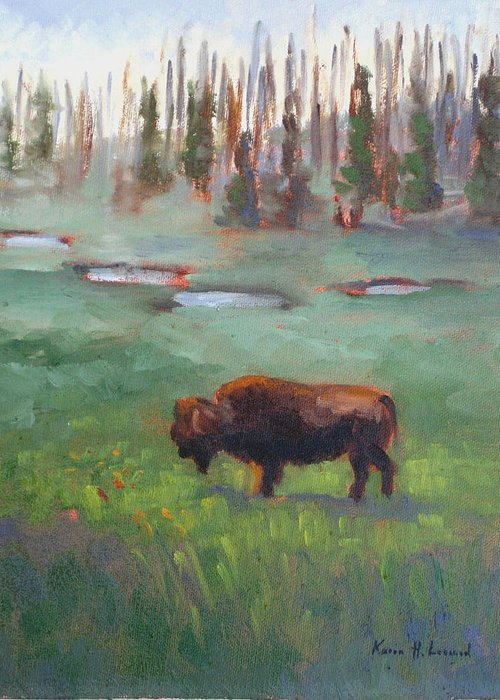 Bison Greeting Card featuring the painting Ferdinand Yellowstone Np by Karin Leonard