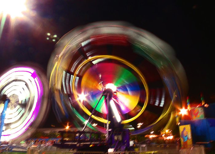 Ferris Wheels Greeting Card featuring the photograph Ferris Wheels Go Round by Kym Backland