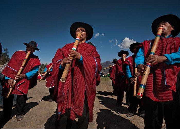 Festival Greeting Card featuring the photograph Festival De Danzas Tradicionales En La Poblacion De Copusquia. Republica De Bolivia. by Eric Bauer