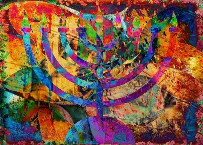 Chanukah Greeting Card featuring the digital art Festival Of Lights by YoMamaBird Rhonda