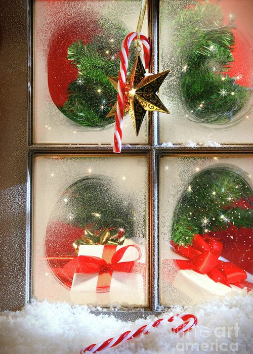 Background Greeting Card featuring the photograph Festive Holiday Window by Sandra Cunningham