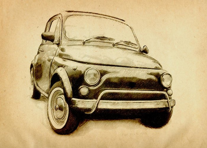 Fiat 500 Greeting Card featuring the drawing Fiat 500l 1969 by Michael Tompsett