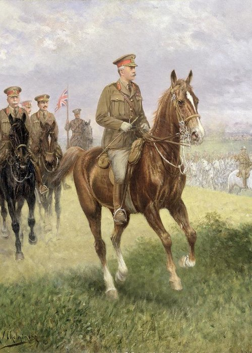 Field Greeting Card featuring the painting Field Marshal Haig by Jan van Chelminski