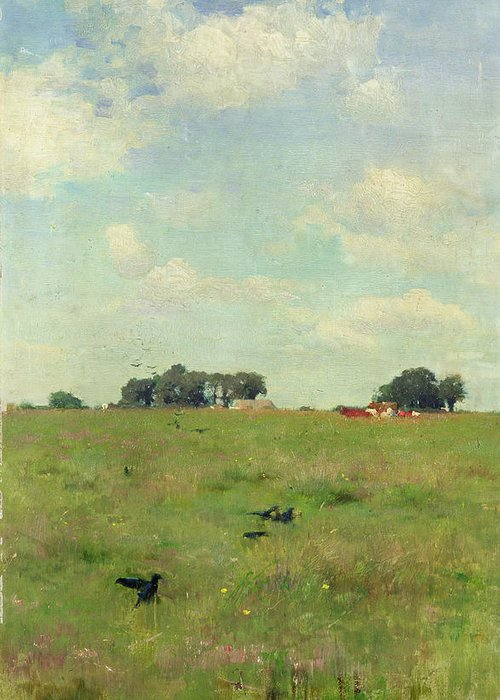 Field With Trees And Sky Greeting Card featuring the painting Field With Trees And Sky by Walter Frederick Osborne