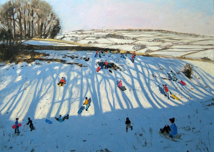 Sledging Greeting Card featuring the painting Fields Of Shadows by Andrew Macara