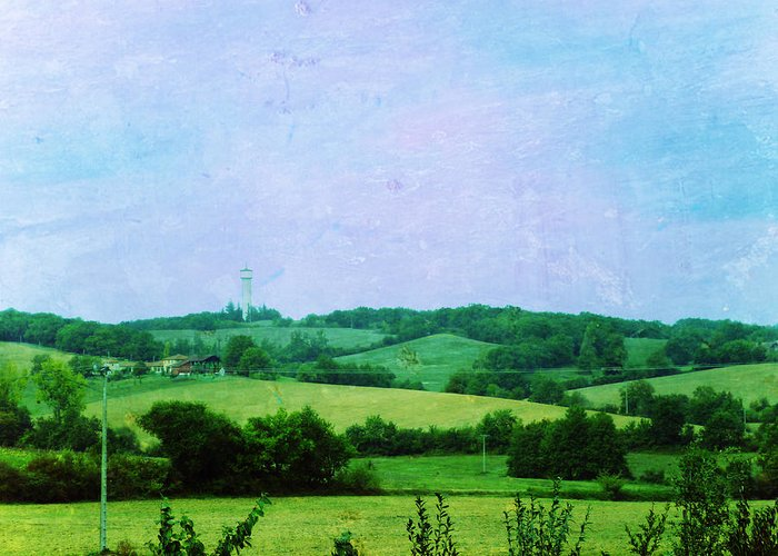 Road Greeting Card featuring the painting Fields by Sandrine Pelissier