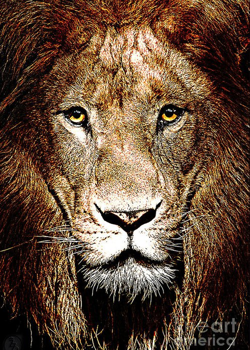 Lion Greeting Card featuring the digital art Fiercely Captivating by The DigArtisT
