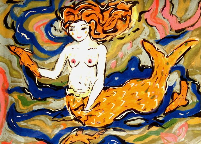 Sea Greeting Card featuring the ceramic art Fiery Mermaid by Patricia Lazar