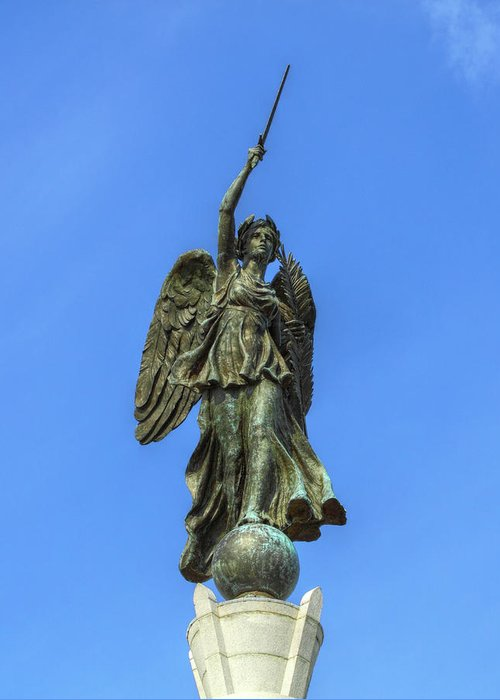 Pennsylvania Monument Greeting Card featuring the photograph Figure Of Winged Victory At Gettysburg by Randy Steele
