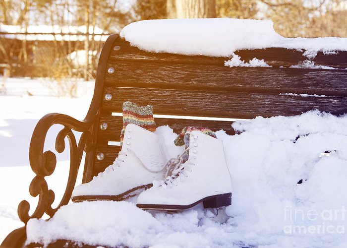 Bench Greeting Card featuring the photograph Figure Skates On The Bench by Igor Kislev