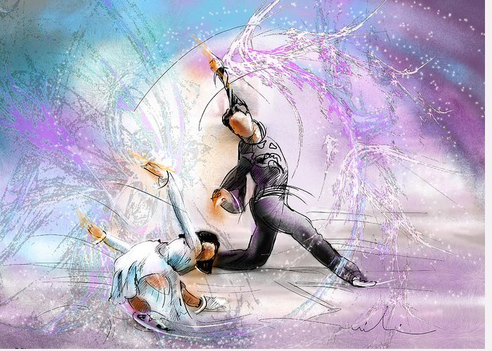 Sports Greeting Card featuring the painting Figure Skating 02 by Miki De Goodaboom
