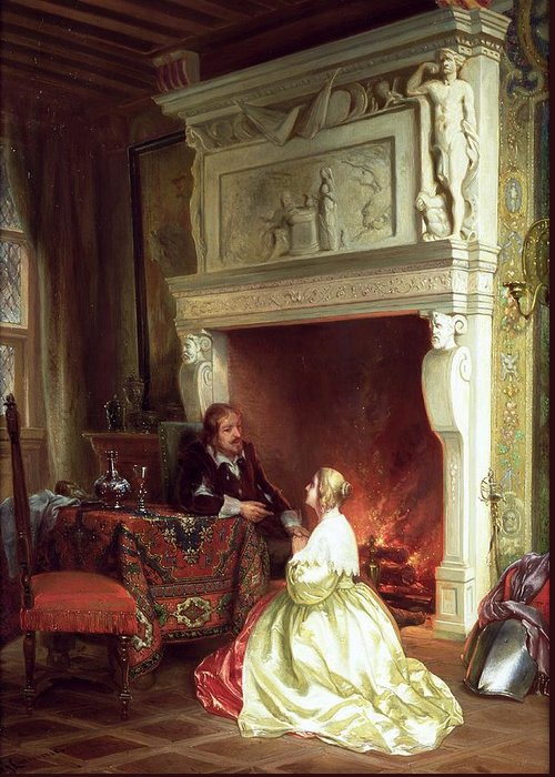 Figures In An Interior Greeting Card featuring the painting Figures In An Interior by Ary Johannes Lamme