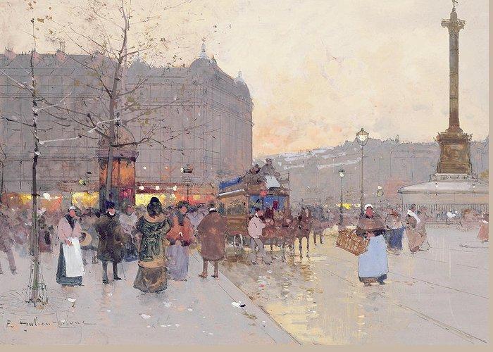 Figures In The Place De La Bastille Greeting Card featuring the painting Figures In The Place De La Bastille by Eugene Galien-Laloue